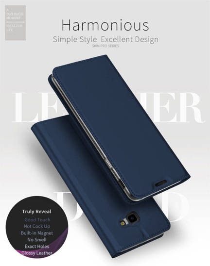 Case IPHONE 12 PRO MAX with a flip Dux Ducis Skin Leather navy blue