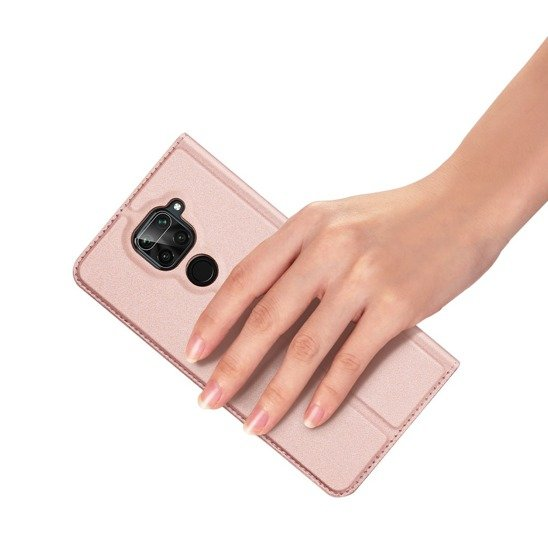 Case XIAOMI REDMI NOTE 9 / REDMI 10X with a flip Dux Ducis Skin Leather light pink