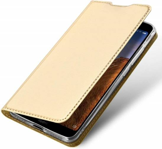 Etui IPHONE 12 MINI z klapką Dux Ducis skórzane Skin Leather złote