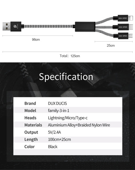 Kabel 3w1 Micro USB - USB-C TYP C - IPhone Lightning Dux ducis USB K-ONE 3IN1 CABLE 120CM